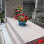 Pierre tombale en granit rose hortensia bouchardée